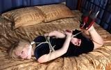 Little Black Dress Hogtie Struggle. Ball gagged, boobs, tits, ropes, red fingernails, stockings, high heels, hogtied, ropes