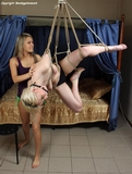 Bianca and Roxanna - Suspended, Teased, Tickled and Tormented. Blonde, ball gagged, topless, bare feet, hemp ropes, suspended