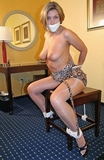 Nicole Grey Topless Tittie Chair Tie Struggle