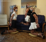 Three Babes In My Living Room Bound and Tape Gagged: Kate Blonde, Agnes, Sandra
