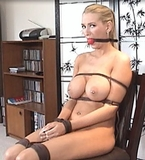 The Senators Daughter - Totally stripped out of her clothes, bound and gagged nude, I think we'll keep this hot blonde babe!