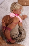 Foxy's Babysitter Bondage. Blonde, Bare Feet, Skirt, Elbows Tied and Touching, Cleave Gagged