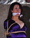 Lots of cleavage and a tight knotted cleave gag