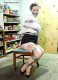 Guinne Silk Stockings Struggle: Chair tied, tape gagged, tape tied, silk stockings, high heels removed