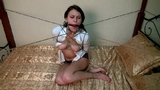Roxanna - Whatever He Wants To Do (HD) She's stuck in the middle of the bed. Tightly bound, ballgagged, her blouse ripped open, exposing her perky young breasts. Ropes from a metal collar to each ...