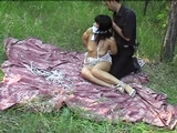 Bound, Gagged, Breasts Exposed In The Woods