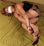 Silk Stockings, High Heels, Arms Cuffed To Ankles