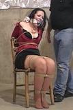 Knotted Cleave Gag, Chair Tie Struggle. Chair Tied, Stockinged Feet, Black Mini Dress, Knotted Cleave Gag, B