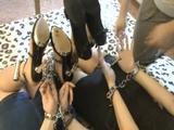Double High Heel Hogtie, Thumbcuffs & Chain
