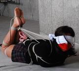 Lola Lynn Blindfolded Hogtie in the Basement