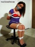 Secretary Bound, Tape Gagged and Sexy Satin Bra Exposed!