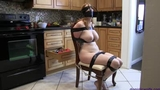 Lauren Phillips--Tightly Taped Up, Gagged & Blindfolded in her Kitchen!