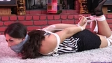 Lola Robbed, Found by a Neighbor, Re-gagged & Left Hogtied & Furious!