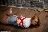 AL0326: Irene box-tie frogtie in her denim skirt