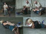 Forced to the floor and wrestled into a cruel crotch roped hogtie