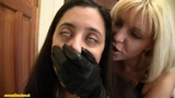 Hand over mouth in leather gloves part 1