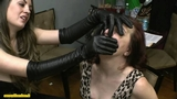 Keri Eve gloved hand over mouth